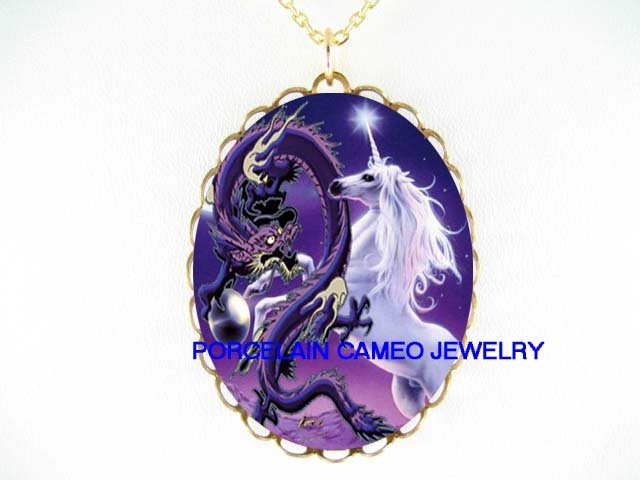 PURPLE UNICORN HORSE WITH DRAGON * CAMEO PORCELAIN NECKLACE