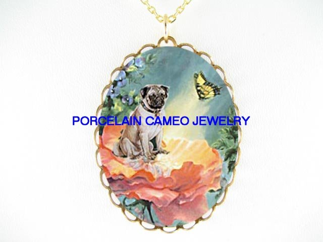 PUG DOG ROSE FAIRY BUTTERFLY  * CAMEO PORCELAIN NECKLACE