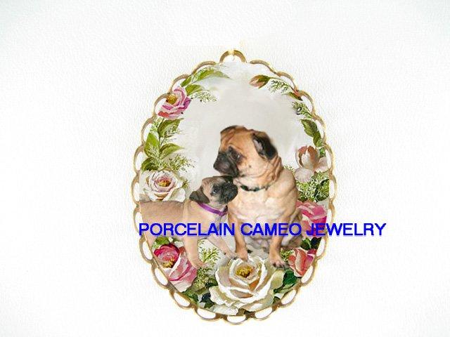 PUG DOG MOM KISSING PUPPY ROSE CAMEO PORCELAIN PENDANT PIN BROOCH