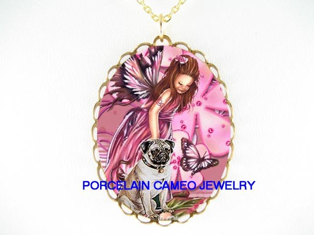 PUG DOG WITH BUTTERFLY FAIRY CAMEO PORCELAIN NECKLACE