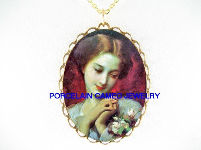 VICTORIAN LADY WITH ROSE  * CAMEO PORCELAIN NECKLACE