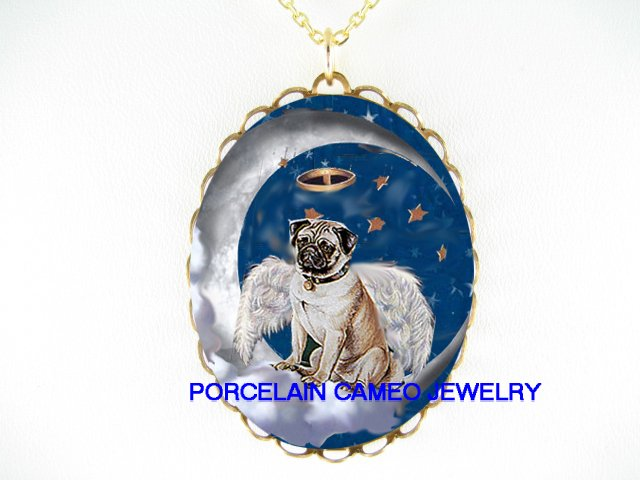 ANGEL CHERUB PUG DOG MOON CAMEO PORCELAIN NECKLACE