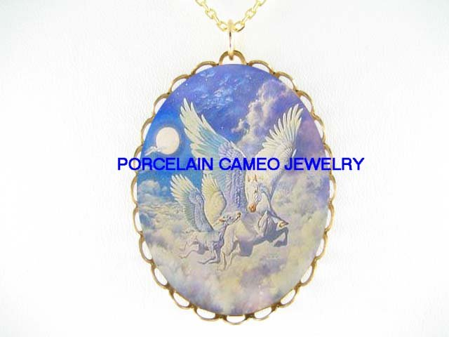PEGASUS HORSE MARE FOAL MOON CAMEO PORCELAIN NECKLACE