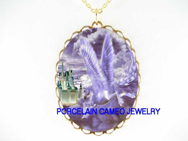 PEGASUS HORSE FLYING TO CASTLE CAMEO PORCELAIN NECKLACE