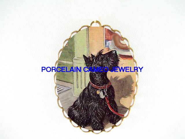 HUNGRY SCOTTISH TERRIER DOG SAUSAGE CAMEO PORCELAIN PENDANT/PIN BROOCH