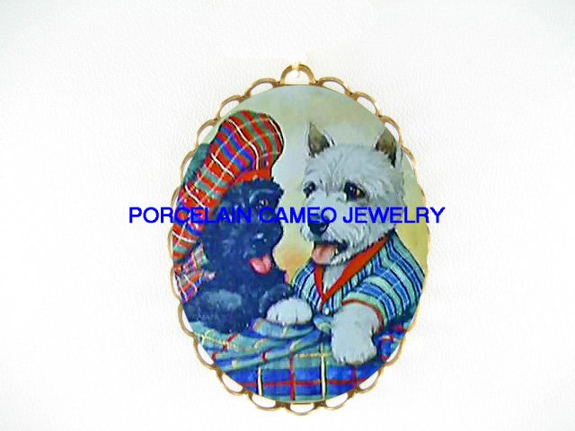 SCOTTISH TERRIER WESTIE DOG CAMEO PORCELAIN PENDANT PIN