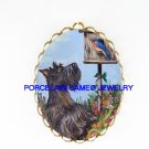 SCOTTISH TERRIER DOG WITH BLUE BIRD*  CAMEO PORCELAIN PENDANT/PIN BROOCH