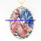 MERMAID MOM CUDDLING BABY * CAMEO PORCELAIN NECKLACE