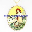 VICTORIAN VINTAGE MERMAID CATCHING FISH * CAMEO PORCELAIN NECKLACE