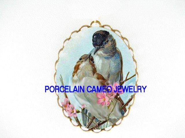 2 VICTORIAN LOVING BIRD CHERRY BLOSSOMS*  CAMEO PORCELAIN PENDANT/PIN BROOCH