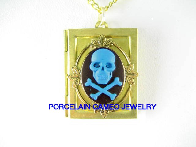 FRENCH VINTAGE BOOK LOCKET  *3D BLUE GOTH PIRATE PUNK * VINTAGE CAMEO BOOK LOCKET NECKLACE