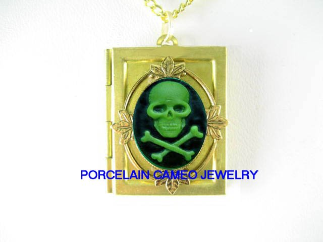 3D GREEN SKULL GOTH PIRATE PUNK  VINTAGE CAMEO BOOK LOCKET NECKLACE