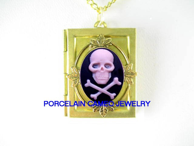 3D PINK SKULL GOTH PIRATE PUNK  VINTAGE CAMEO BOOK LOCKET NECKLACE