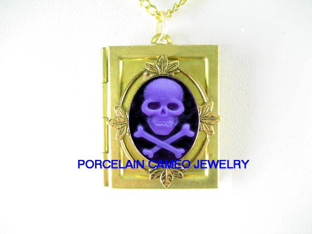3D PURPLE SKULL GOTH PIRATE PUNK  VINTAGE CAMEO BOOK LOCKET NECKLACE