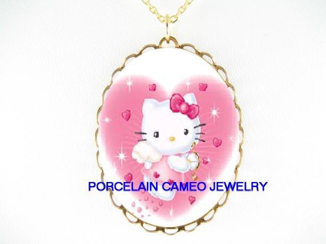 HELLO KITTY ANGEL CHERUB HEART * CAMEO PORCELAIN NECKLACE