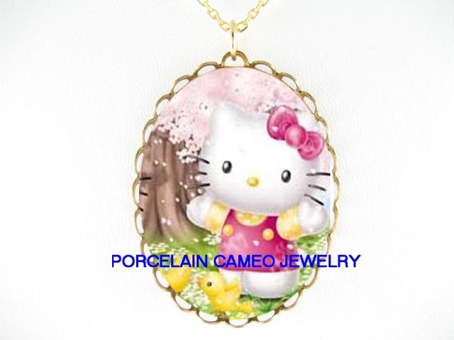 HELLO KITTY CHICKS CHERRY BLOSSOMS CAMEO PORCELAIN NECKLACE