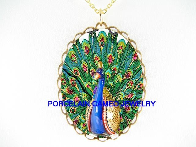 ART DECO NOUVEAU PEACOCK PORCELAIN CAMEO NECKLACE