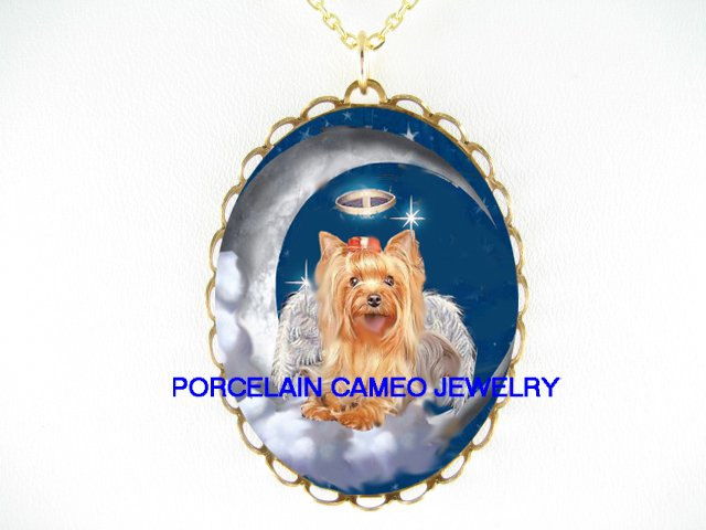 ANGEL CHERUB HALO YORKSHIRE TERRIER DOG CAMEO NECKLACE