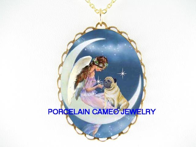 PUG DOG WITH ANGEL MOON CAMEO PORCELAIN NECKLACE