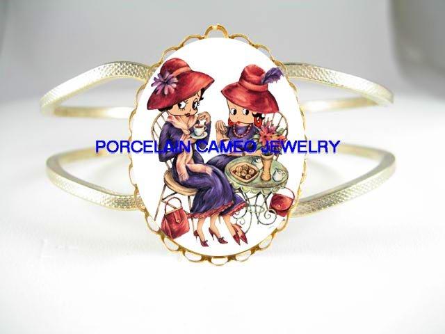RED HAT BETTY BOOP TEA TIME* PORCELAIN CAMEO VINTAGE HINGED BANGLE BRACELET