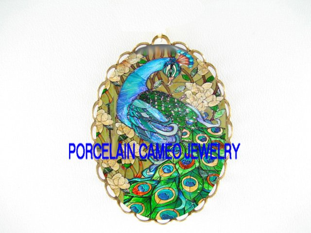 GREEN PEACOCK DOGWOOD CAMEO PORCELAIN PIN PENDANT BROOCH