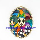 JESTER RAINBOW CLOWN   *  CAMEO PORCELAIN PENDANT/PIN BROOCH