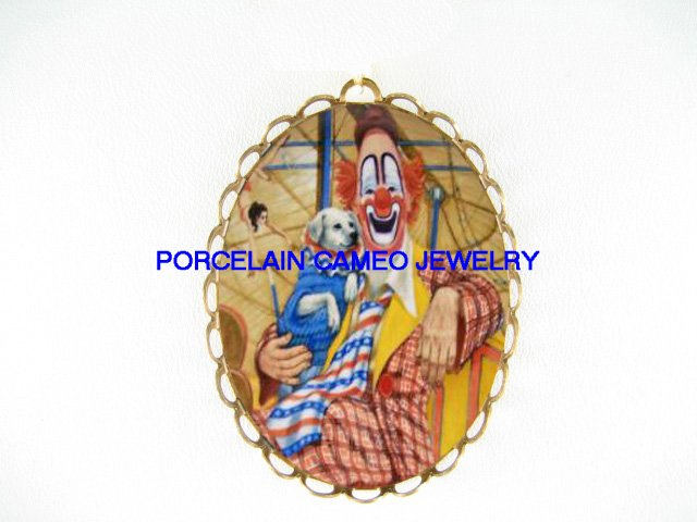 SMILING CLOWN WITH DOG CAMEO PORCELAIN PENDANT PIN BROOCH