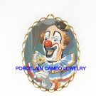 SMILING CLOWN WITH DAISY CAMEO PORCELAIN PENDANT PIN BROOCH