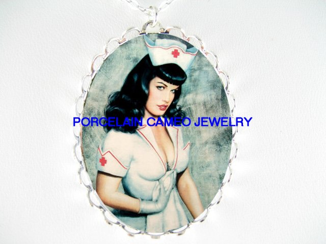 PINUP GIRL BETTIE PAGE IN NURSE DRESS * CAMEO PORCELAIN NECKLACE