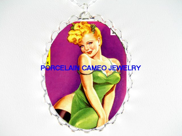 BLONDE PINUP GIRL IN GREEN DRESS* CAMEO PORCELAIN NECKLACE
