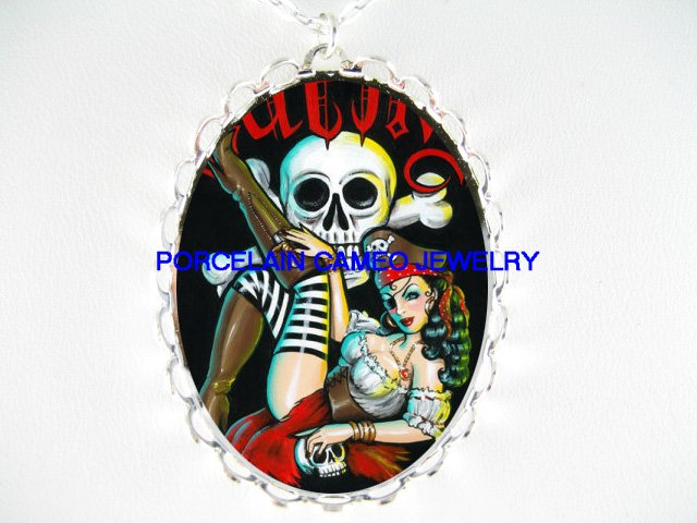 PIRATE PINUP GIRL BONE SKULL GOTH CAMEO PORCELAIN NECKLACE