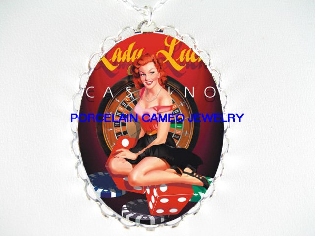 LADY LUCK PINUP GIRL *  CAMEO PORCELAIN NECKLACE