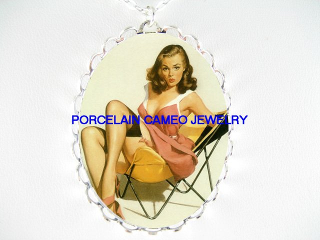 PINUP GIRL ON BEACH CHAIR*  CAMEO PORCELAIN NECKLACE
