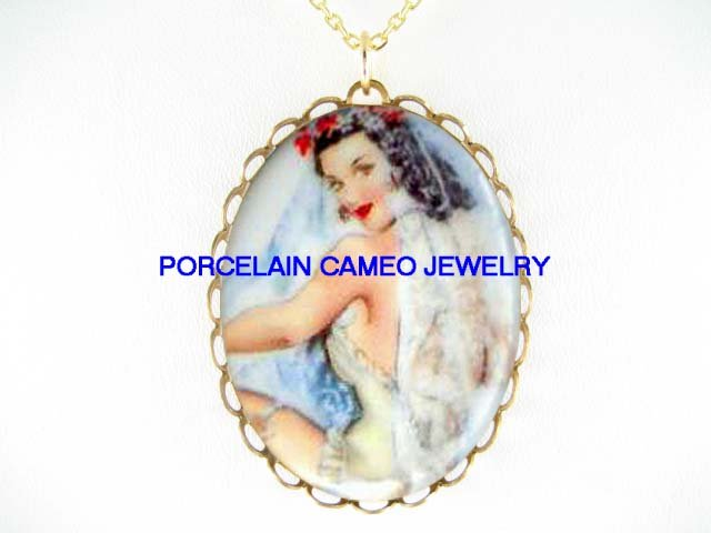 PINUP BRUNETTE BRIDE* CAMEO PORCELAIN NECKLACE