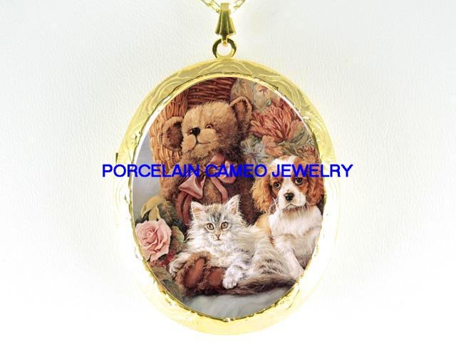 TEDDY BEAR WITH CAT AND CAVALIER KING SPANIEL PUPPY DOG*  CAMEO PORCELAIN LOCKET NECKLACE