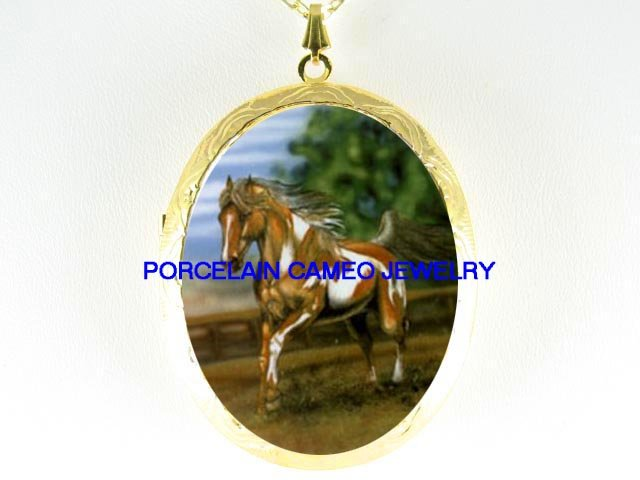 PINTO PAINT HORSE RUNNING CAMEO PORCELAIN LOCKET NECKLACE
