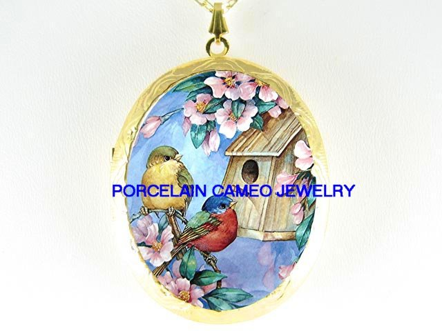 2 ROBIN BABY BIRD HOUSE DOGWOOD PORCELAIN CAMEO LOCKET