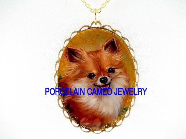SMILING LONG HAIR CHIHUAHUA DOG CAMEO PORCELAIN NECKLACE