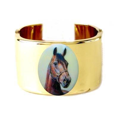 RARE ARABIAN HORSE PORCELAIN CAMEO CUFF BANGLE BRACELET