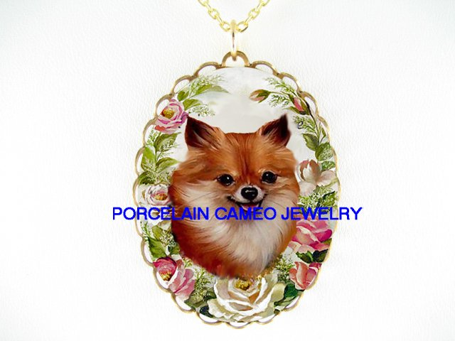 LONG HAIR CHIHUAHUA DOG ROSE CAMEO PORCELAIN NECKLACE
