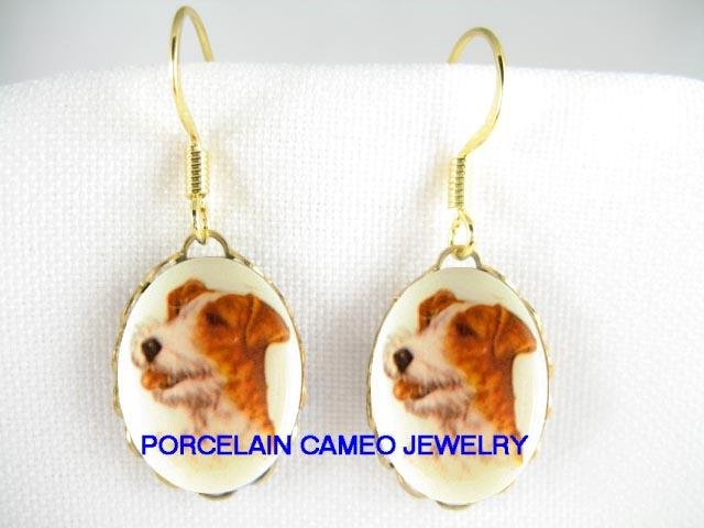 VINTAGE JACK RUSSELL TERRIER DOG CAMEO PORCELAIN EARRINGS