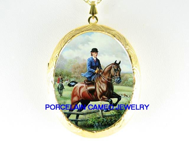 LADY ON HORSE FOX HUNTING*  CAMEO PORCELAIN LOCKET NECKLACE