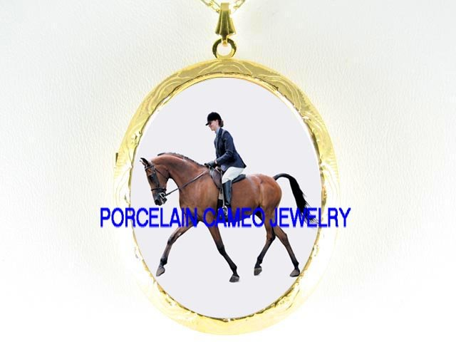 LADY ON RACING HORSE  CAMEO PORCELAIN LOCKET NECKLACE