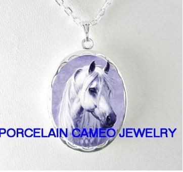 WHITE STALLION HORSE* PORCELAIN CAMEO SMALL LOCKET NECKLACE