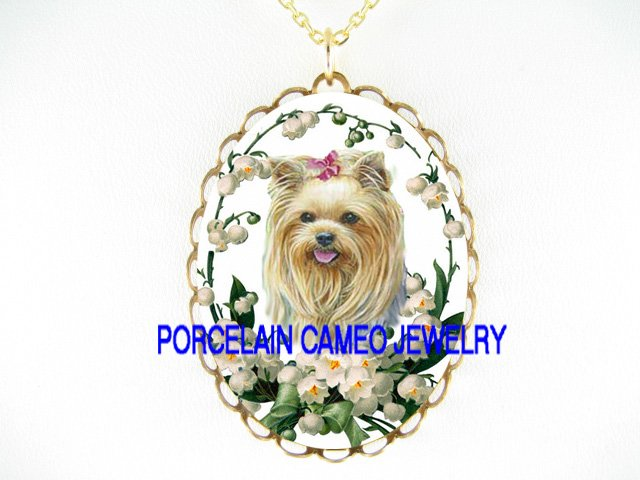 YORKSHIRE DOG LILY OF THE VALLEY CAMEO PORCELAIN NECKLACE