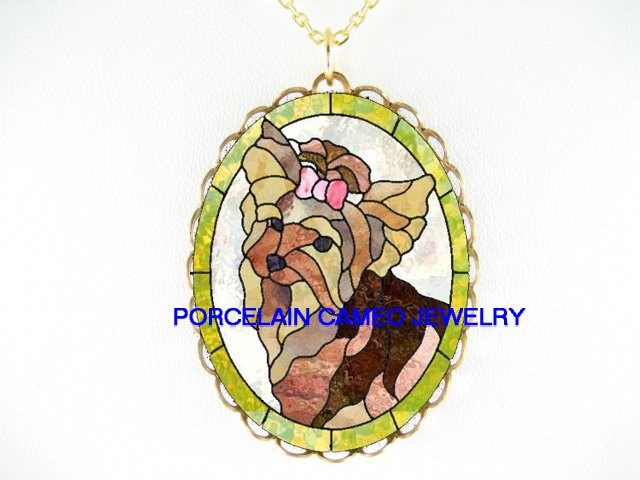 RARE YORKSHIRE TERRIER DOG CAMEO PORCELAIN NECKLACE