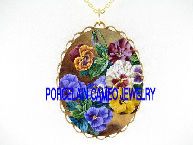 COLORFUL SPRING PANSY FLOWER  * CAMEO PORCELAIN NECKLACE