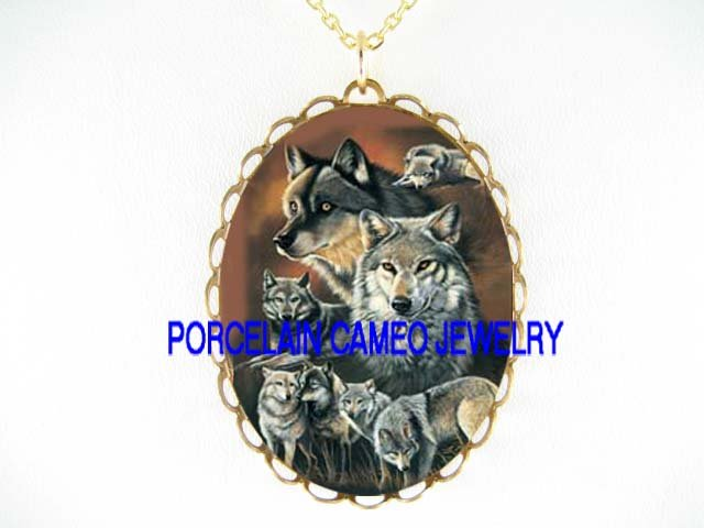 WOLF PACK COLLAGE POERCELAIN CAMEO PENDANT NECKLACE