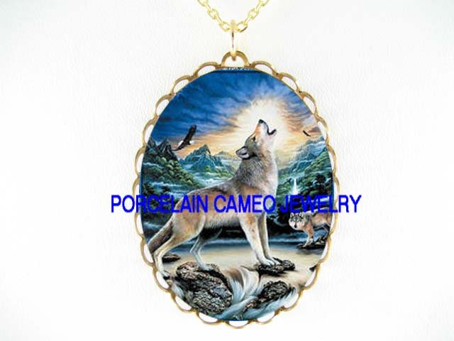 WOLF HOWLING EAGLE MOUNTAIN POERCELAIN CAMEO NECKLACE