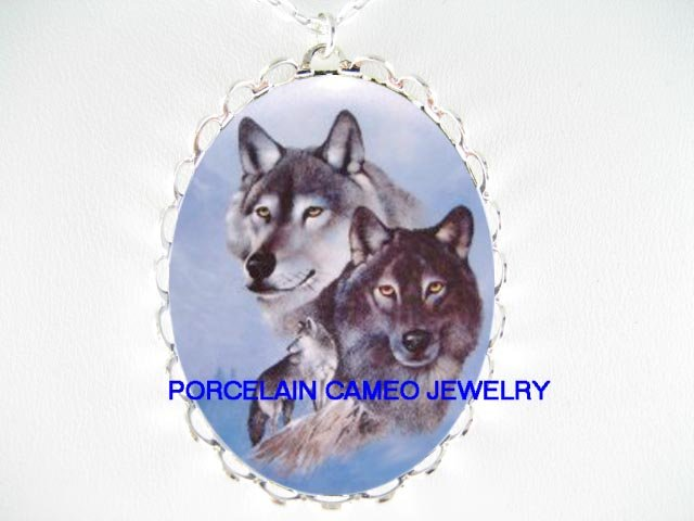 3 GREY WOLF COLLAGE MOUNTAIN PORCELAIN CAMEO NECKLACE